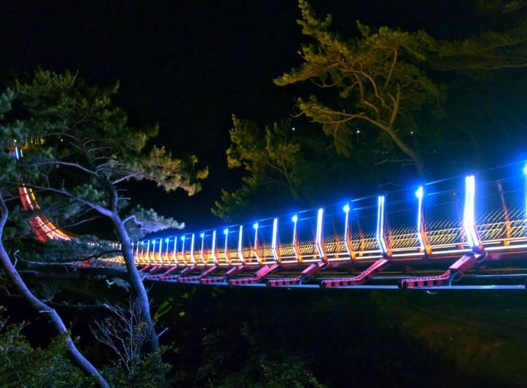 Korean LED pixel-mapped suspension bridge